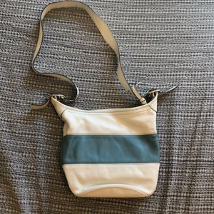 Leather coach bucket purse